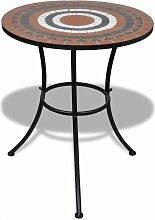Table de bistro Terre cuite et blanc 60 cm