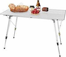 Table de camping pliante en aluminium. Table de