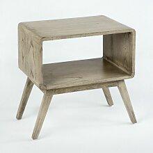 Table de chevet 1 niche bois massif grisé voilé