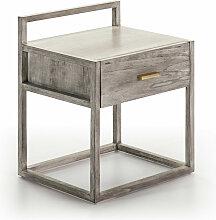 Table de chevet 1 tiroir bois massif grisé voilé