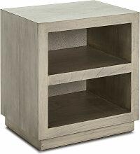 Table de chevet 2 niches bois massif grisé voilé