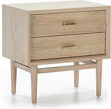 Table de chevet 2 tiroirs bois massif grisé Mixte