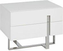 Table De Chevet 2 Tiroirs laura 45cm Blanc Laqué