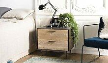 Table de chevet 2 tiroirs sapin et métal - Ikar