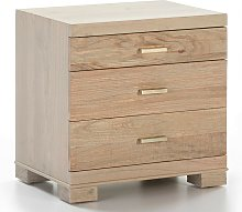 Table de chevet 3 tiroirs bois massif grisé Sasie
