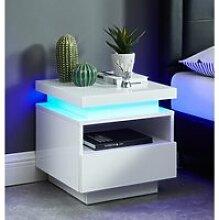 Table de chevet à LED COSMOS - laqué blanc