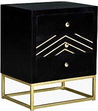 Table de chevet art déco 3 tiroirs PRISMIN - Bois