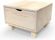 Table de chevet bois cube + tiroir  brut CHEVCUB-B