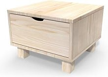 Table de chevet bois Cube + tiroir Brut