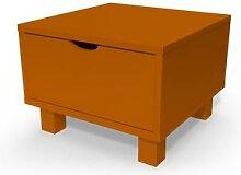 Table de chevet bois Cube + tiroir Chocolat