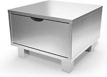 Table de chevet bois Cube + tiroir Gris Aluminium