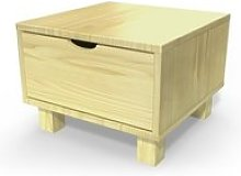 Table de chevet bois cube + tiroir  miel CHEVCUB-M