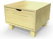 Table de chevet bois Cube + tiroir Miel