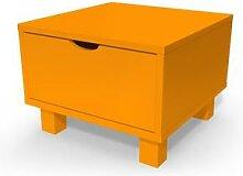 Table de chevet bois Cube + tiroir Orange