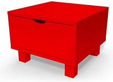 Table de chevet bois Cube + tiroir Rouge
