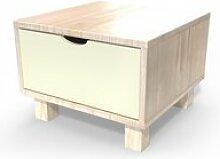 Table de chevet bois cube + tiroir  vernis naturel