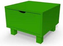 Table de chevet bois Cube + tiroir Vert