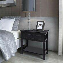 Table de chevet Bois Noir HDV09486 - Hommoo