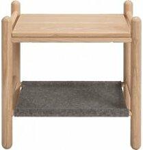 Table de chevet en bois de frêne et feutrine gris