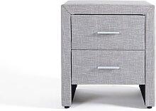 Table de chevet en tissu gris