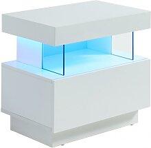 Table de chevet FABIO - MDF laqué blanc - LEDs -