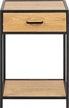 Table de chevet industrielle bois et métal noir