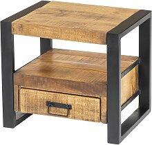 Table de chevet industrielle HARLEM - 1 tiroir & 1