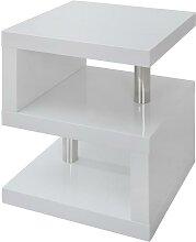 Table de chevet LYLIA II - MDF laqué blanc - Avec