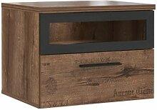 Table de chevet marron 1 tiroir décor vieux chêne