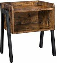 Table de chevet nuit industriel couleur bois et