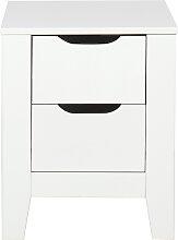 Table de chevet scandinave blanche avec tiroirs