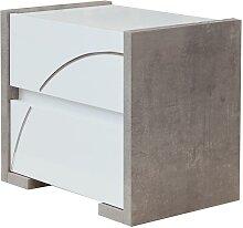 Table de chevet URAM - 2 tiroirs - Coloris : blanc