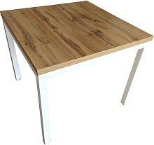 Table de cuisine moderne 90x90 pieds métal blanc