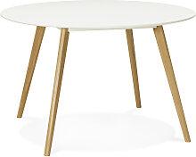 Table de cuisine ronde 'AMY' blanche style
