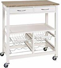 Table de cuisine roulante blanc-chêne clair, l68