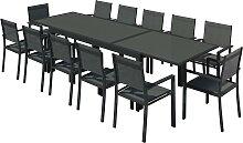 Table de jardin 12 places en aluminium noir