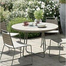 Table de jardin 4/6 pers - ronde bois en Teck