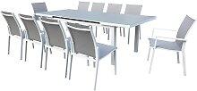 Table de jardin 8 chaises et 2 fauteuils en alu