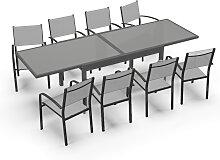 Table de jardin 8 personnes en aluminium gris et