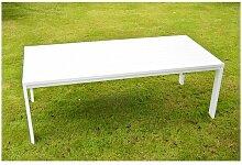 Table de jardin aluminium blanc 2,2 m x 1 m x 0,8 m