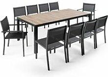 Table de jardin aluminium et céramique 10 places,