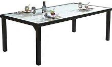 Table de jardin aluminium noir plateau verre