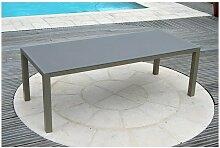 Table de jardin aluminium plateau verre 2,2 m x