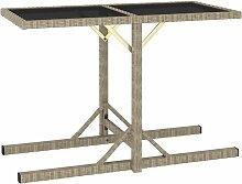 Table de jardin Beige 110x53x72 cm Verre et