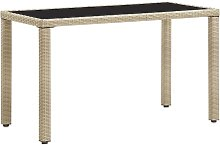 Table de jardin Beige 123x60x74 cm Résine tressée