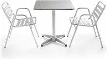 Table de jardin bistrot carrée aluminium et 2