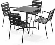 Table de jardin bistrot carrée rabattable et 4