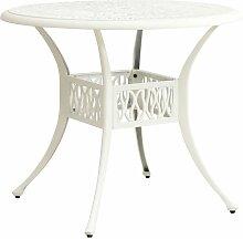 Table de jardin Blanc 90x90x74 cm Aluminium coulé