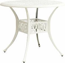 Table de jardin Blanc 90x90x74 cm Aluminium coule
