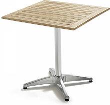 Table de jardin carrée aluminium et bois